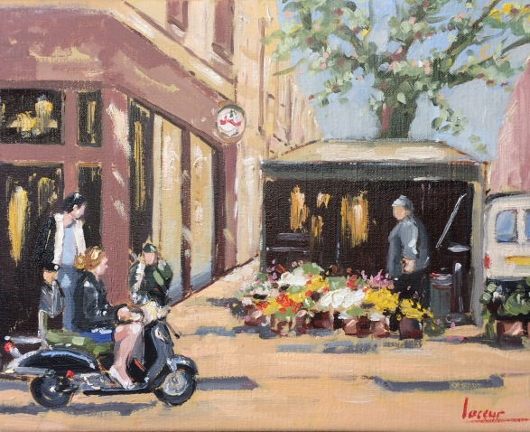 City view with scooter III (24x30cm)